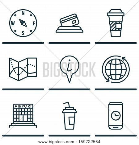Set Of 9 Travel Icons. Can Be Used For Web, Mobile, UI And Infographic Design. Includes Elements Such As Info, Phone, Building And More.