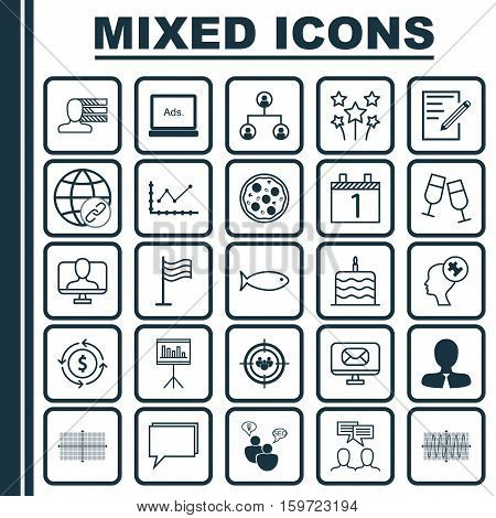 Set Of 25 Universal Editable Icons. Can Be Used For Web, Mobile And App Design. Includes Elements Such As Festive Fireworks, Manager, Changes Graph And More.
