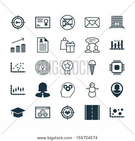 Set Of 25 Universal Editable Icons. Can Be Used For Web, Mobile And App Design. Includes Elements Such As Website Performance, Coins Growth, Photo Camera And More.