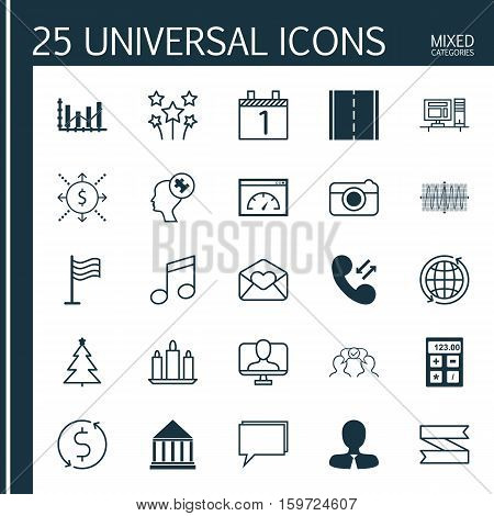 Set Of 25 Universal Editable Icons. Can Be Used For Web, Mobile And App Design. Includes Elements Such As Manager, Greeting Email, Financial And More.