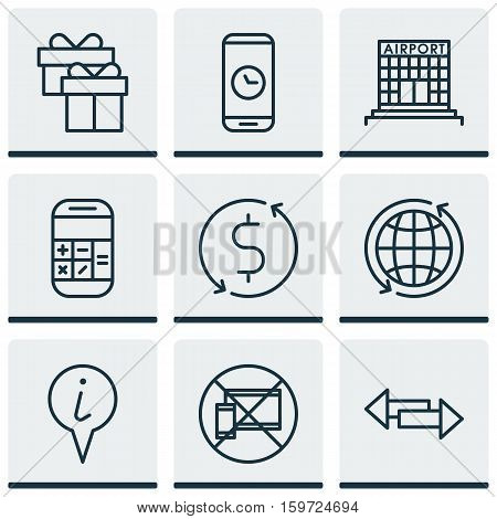 Set Of 9 Travel Icons. Can Be Used For Web, Mobile, UI And Infographic Design. Includes Elements Such As Crossroad, Airport, Box And More.