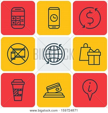 Set Of 9 Travel Icons. Can Be Used For Web, Mobile, UI And Infographic Design. Includes Elements Such As Device, Exchange, No And More.