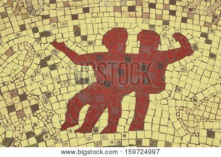 Twins zodiac sign in a mosaic style