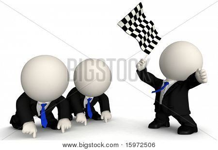 3D business men racing - isolated over a white background