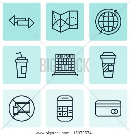 Set Of 9 Transportation Icons. Can Be Used For Web, Mobile, UI And Infographic Design. Includes Elements Such As Calculation, Debit, Travel And More.