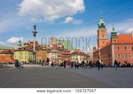 View on the Castle Square. Warsaw Poland - 16.04.2016.
