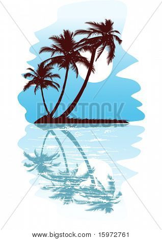 Tropical abstract background with palms and circles. Vector version also available in gallery