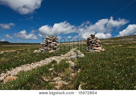 Cairn on a trail