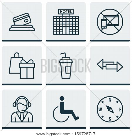 Set Of 9 Traveling Icons. Can Be Used For Web, Mobile, UI And Infographic Design. Includes Elements Such As Accessibility, Hotel, Compass And More.