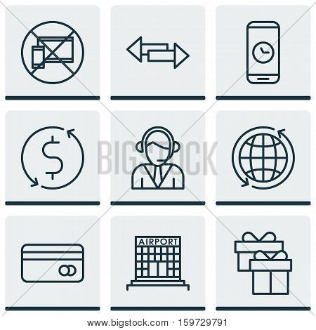Set Of 9 Travel Icons. Can Be Used For Web, Mobile, UI And Infographic Design. Includes Elements Such As Operator, Debit, Time And More.