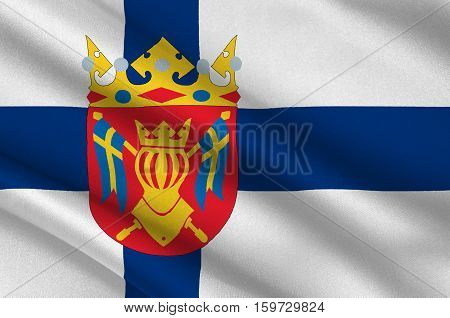 Flag Of Southwest Finland also known in English as Finland Proper region in Finland. 3d illustration