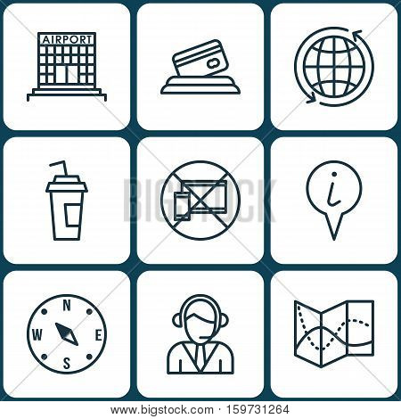 Set Of 9 Travel Icons. Can Be Used For Web, Mobile, UI And Infographic Design. Includes Elements Such As Call, Drink, Road And More.
