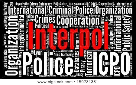 Interpol word cloud concept with a black background