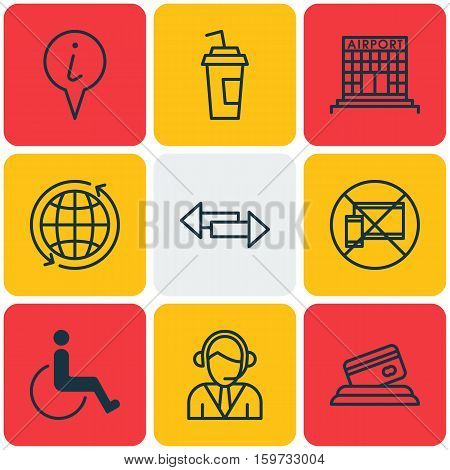 Set Of 9 Traveling Icons. Can Be Used For Web, Mobile, UI And Infographic Design. Includes Elements Such As Operator, No, Pointer And More.
