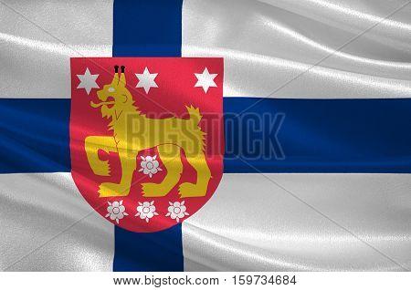 Flag Of Tavastia Proper region in Finland. 3d illustration