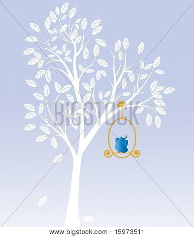 bird on a golden perch looking to future concept vector