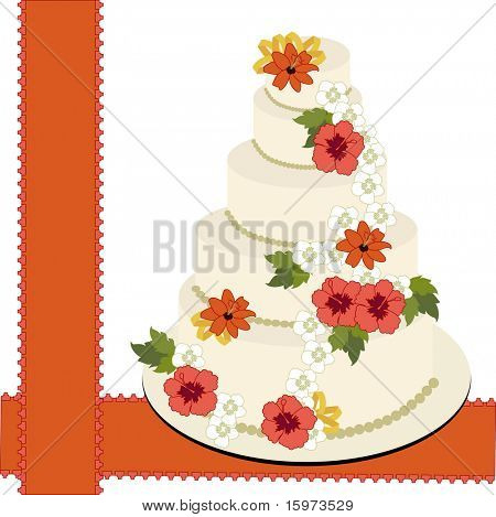 wedding cake 3 different  flowers vector
