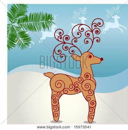 funky coil rodolph  vector - reindeer behind
