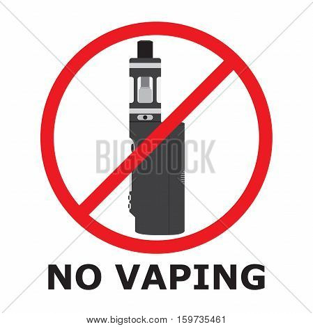 No vaping sign flat style. Prohibition sign. No smoking vaporizer area.