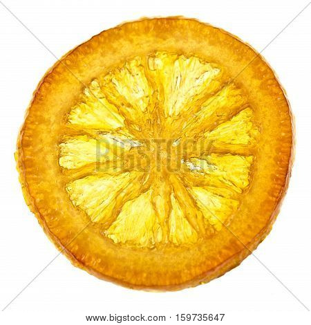Sweet candied orange slice isolated on a white background