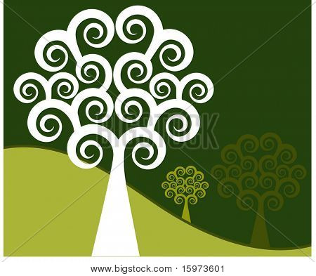 quirky coil tree vector  green
