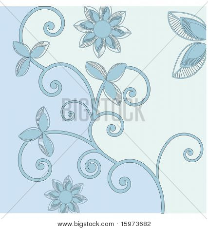 stylized vine in blue vector