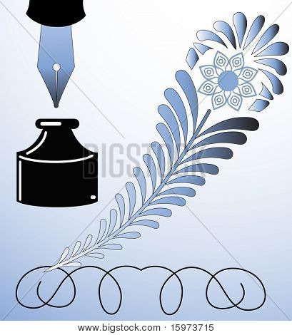 decorative feather quill vector with fountain pen and inkwell see series