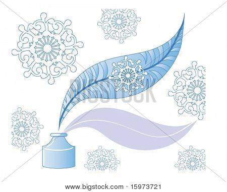 decorative feather with inkwell vector