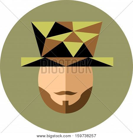 A man with a beard and mustache in the Hat. The gentleman juggler hipster. Trendy flat style and the style of the polygon.