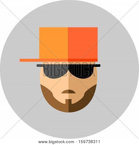 Fashionable man with beard and mustaches in sunglasses and a baseball cap. Style flat