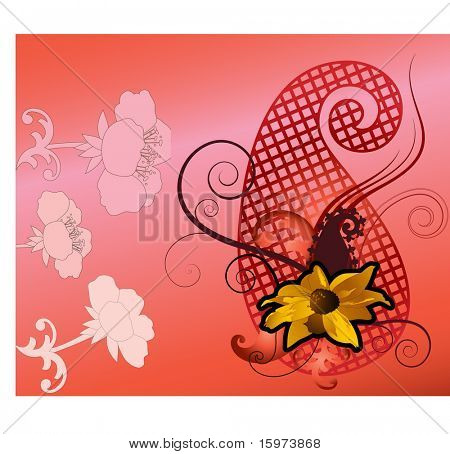 Paisley and flower fun vector