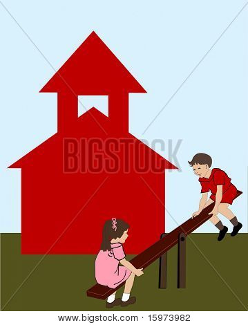 "boy and girl on seesaw in front of ""Little Red Schoolhouse"" vector"