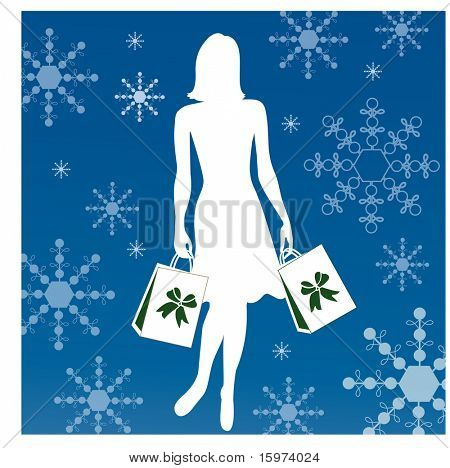 silhouette woman shopping vector christmas bows on bag