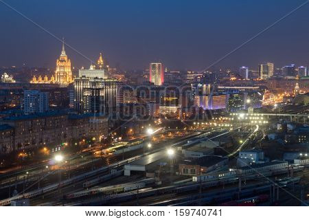 MOSCOW - APR 8, 2016: Kievsky railway station at night. Russian Railways is among three largest transport companies in world