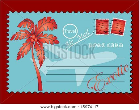 "retro travel postcard  ""edwardain script itc""  vector"