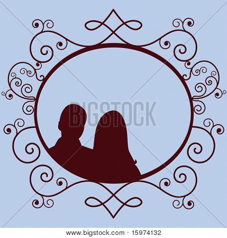 funky victorian frame with silhouette (use together or separately) vector
