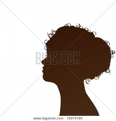 profiled silhouette  of woman vector