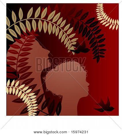 na podzim listy s profilem muž a žena vektoru