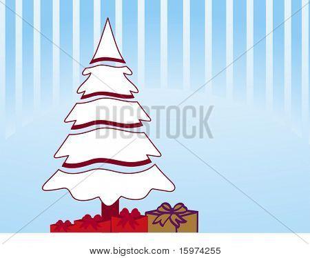 weißer Weihnachtsbaum mit präsentiert unter Vektor