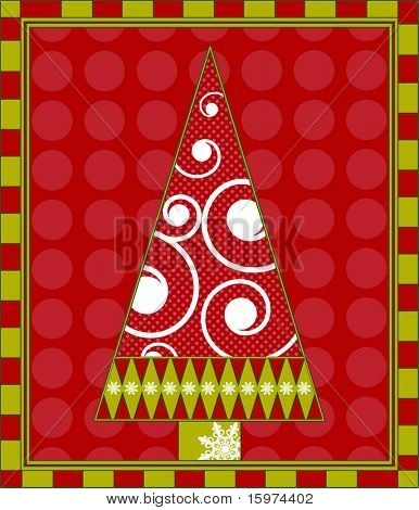 funky christmas tree in frame vector