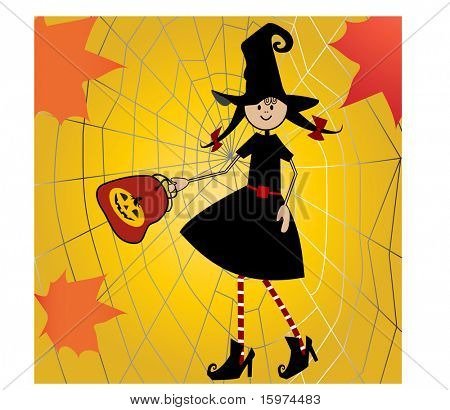 witch with treat bag, spider web and leaves vector
