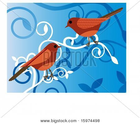 birds on a vine vector