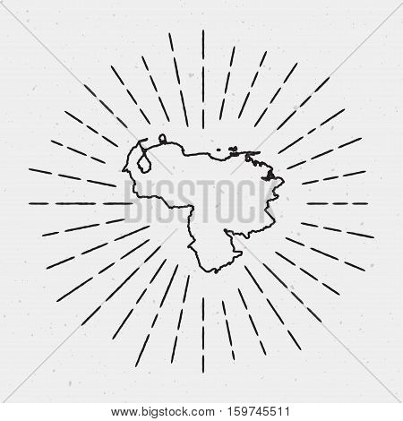 Vector Venezuela, Bolivarian Republic Of Map Outline With Retro Sunburst Border. Hand Drawn Hipster