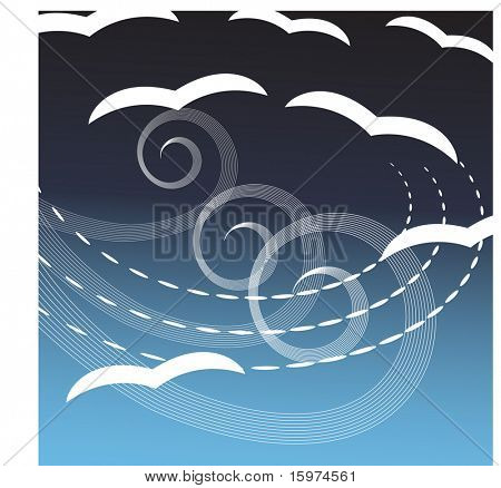 seagulls in the wind vector