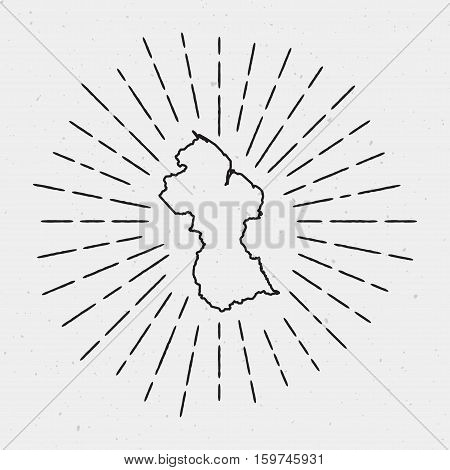 Vector Guyana Map Outline With Retro Sunburst Border. Hand Drawn Hipster Decoration Element. Black R