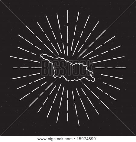 Georgia Vector Map Outline With Vintage Sunburst Border. Hand Drawn Map With Hipster Decoration Elem