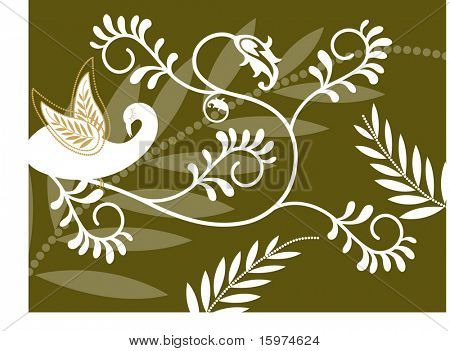 fun foliage with bird