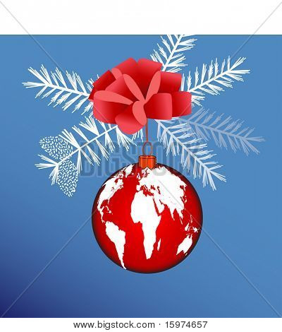 bow with world bauble concept vector