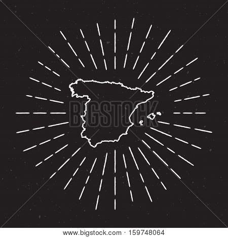 Spain Vector Map Outline With Vintage Sunburst Border. Hand Drawn Map With Hipster Decoration Elemen
