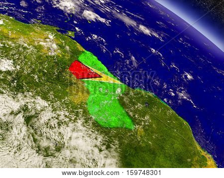 Guyana With Embedded Flag On Earth